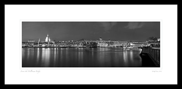 Millennium bridge and St Pauls Cathederal, black and white image